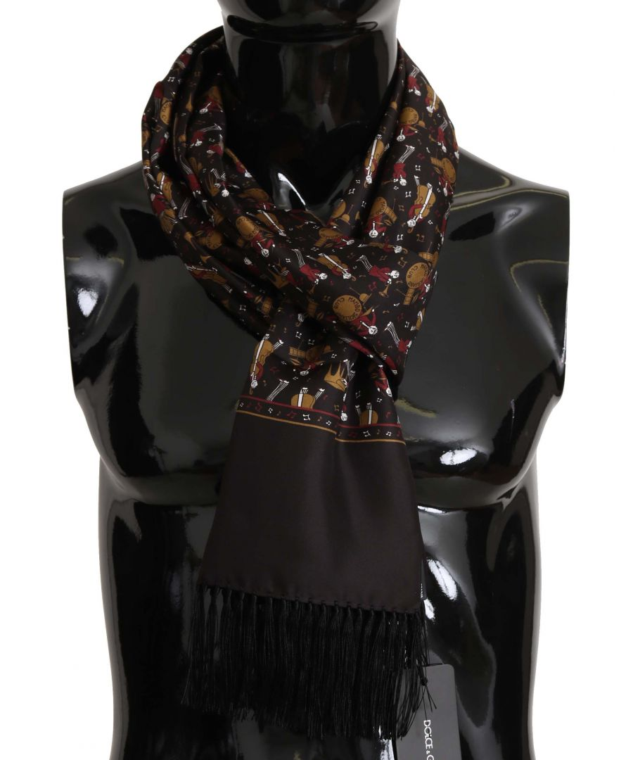 Image for Dolce & Gabbana Brown Musicians Print Mens  Scarf