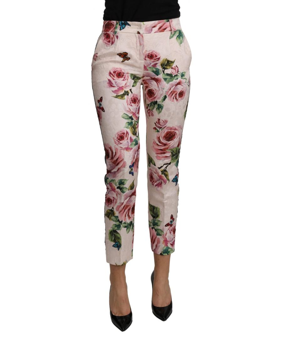 Image for Dolce & Gabbana Pink Floral High Waist Cropped Cotton Pants