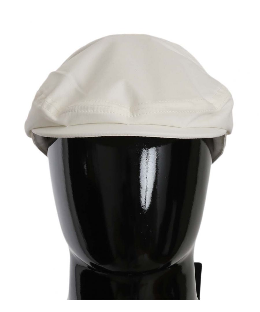 Image for Dolce & Gabbana White Cotton Stretch Logo Newsboy Hat Cap