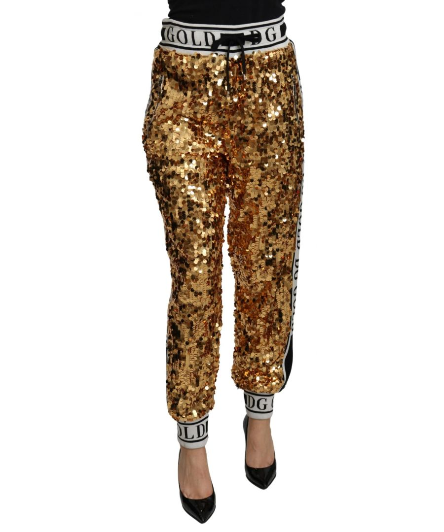 Image for Dolce & Gabbana Gold Sequined High Waist Sweatpants Pants