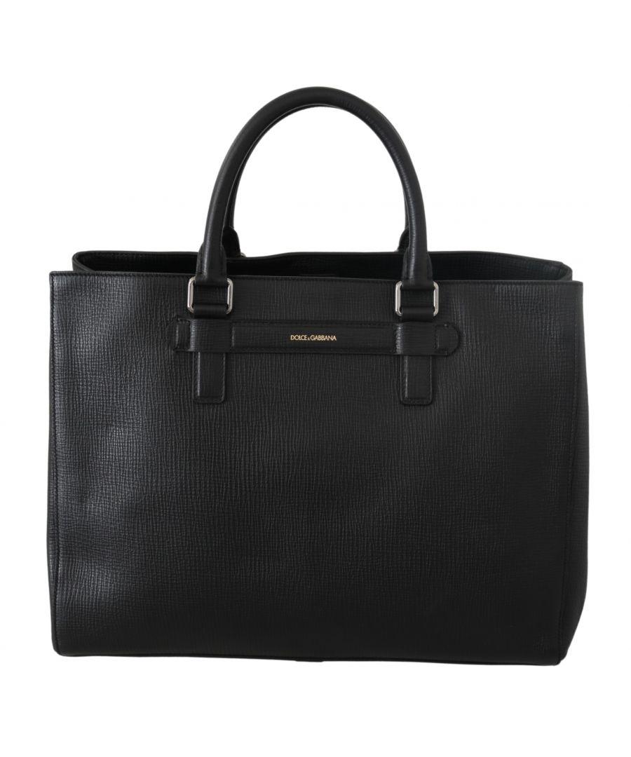 Image for Dolce & Gabbana Schwarz Reise Messenger Tote Borse Handtasche Ledertasche