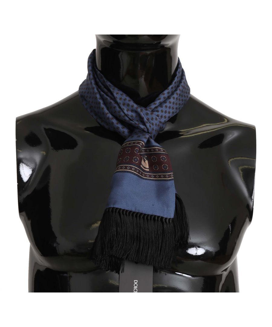 Image for Dolce & Gabbana Blue Baroque Tassel Mens Silk Scarf