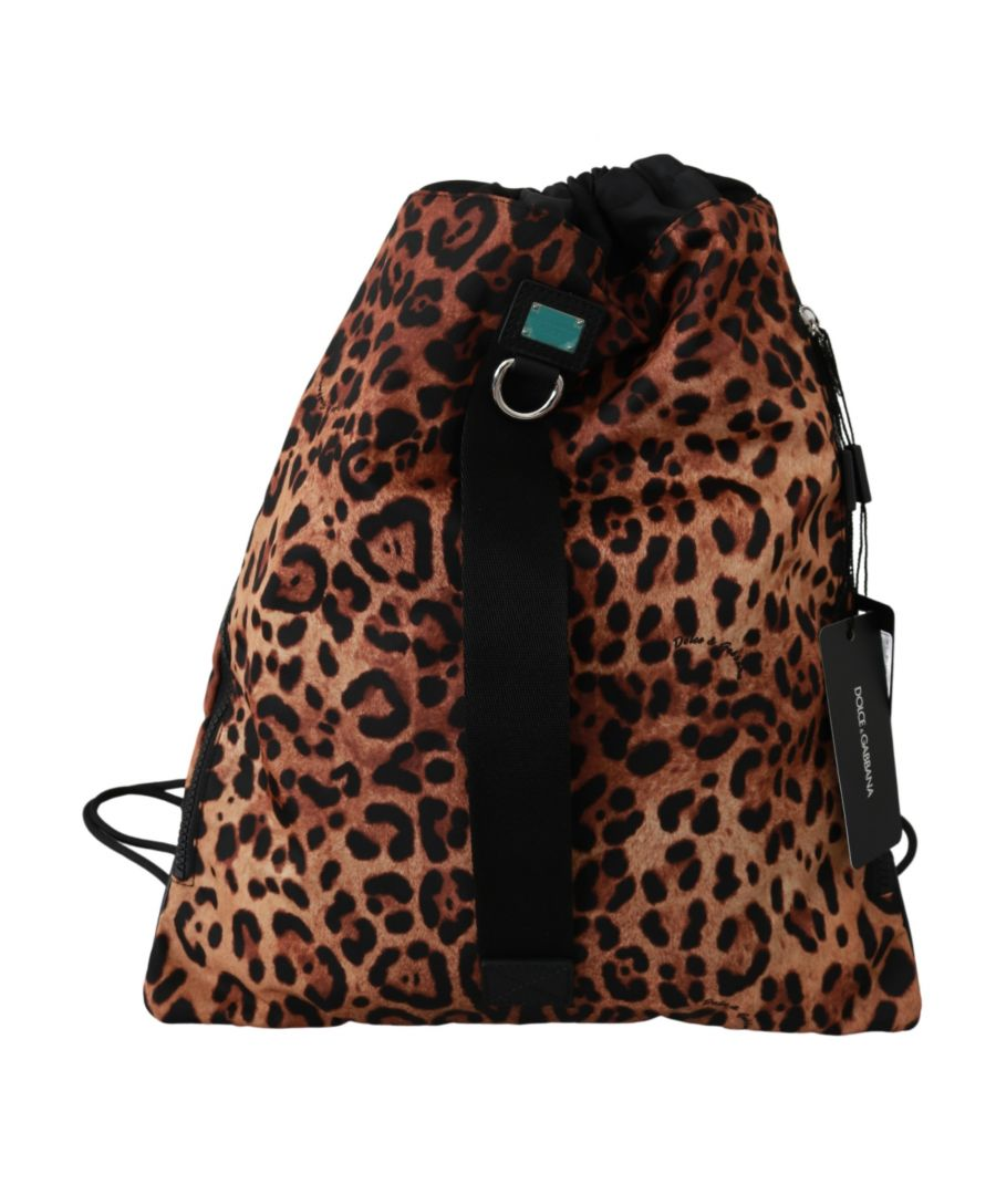 Image for Dolce & Gabbana Brown Leopard Drawstring Napsack Nylon Backpack
