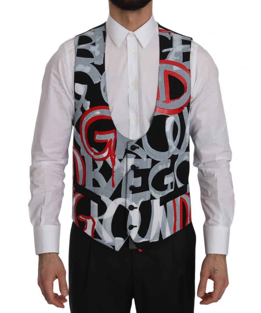 Image for Dolce & Gabbana Black Printed Polyester Formal  Vest