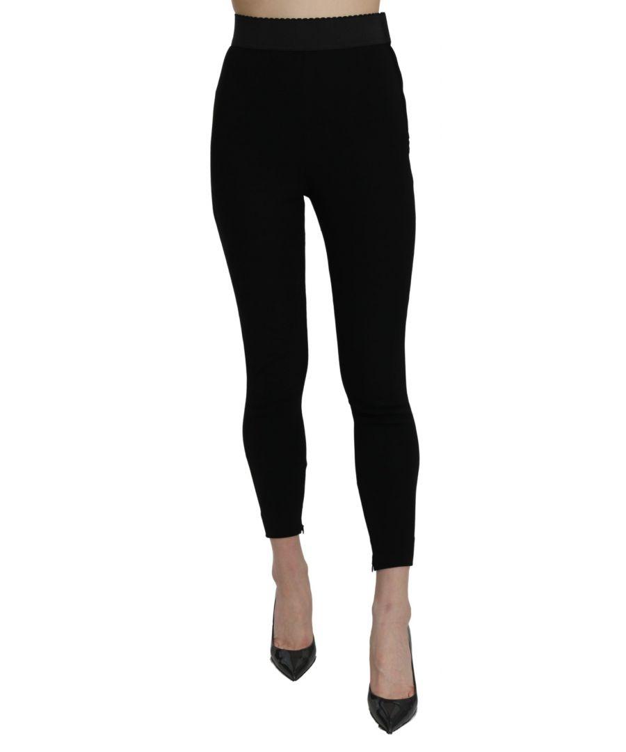Image for Dolce & Gabbana Black High Waist Leggings Cotton Stretch Pant