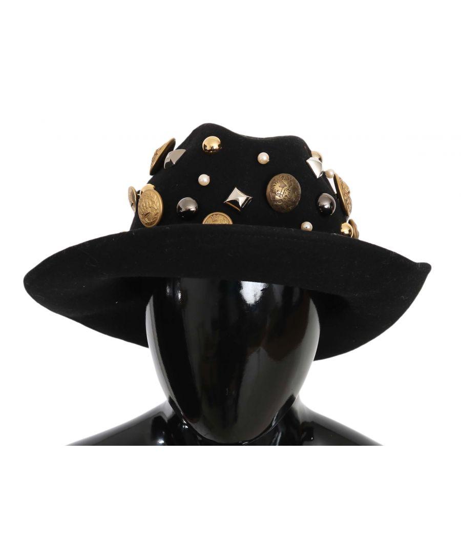 Image for Dolce & Gabbana Black Coin Button Stud Wide Brim Panama  Hat