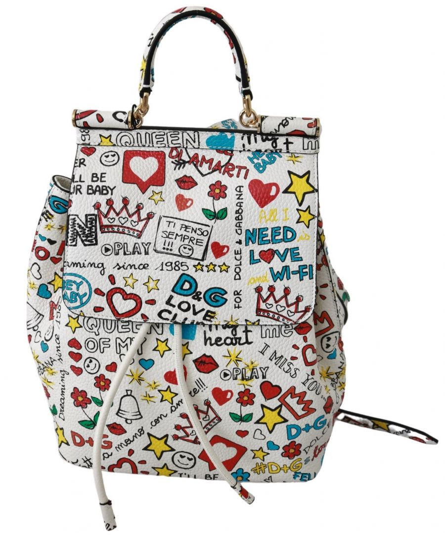Image for Dolce & Gabbana White Multicolor Leather Backpack SICILY Purse