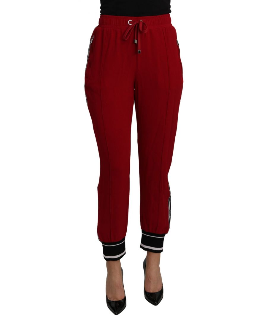 Image for Dolce & Gabbana Red High Waist Sweatpants Stretch Pants