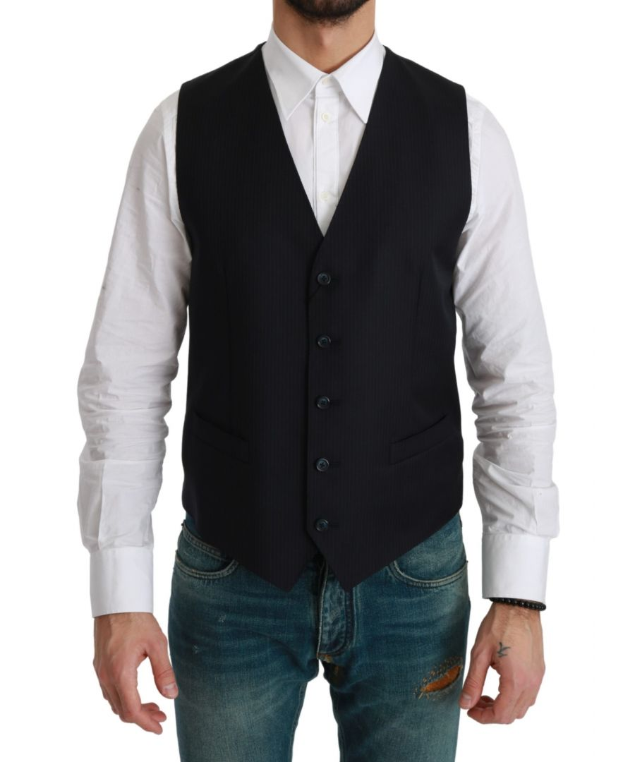 Image for Dolce & Gabbana Blue Waistcoat Formal Stretch Wool Vest