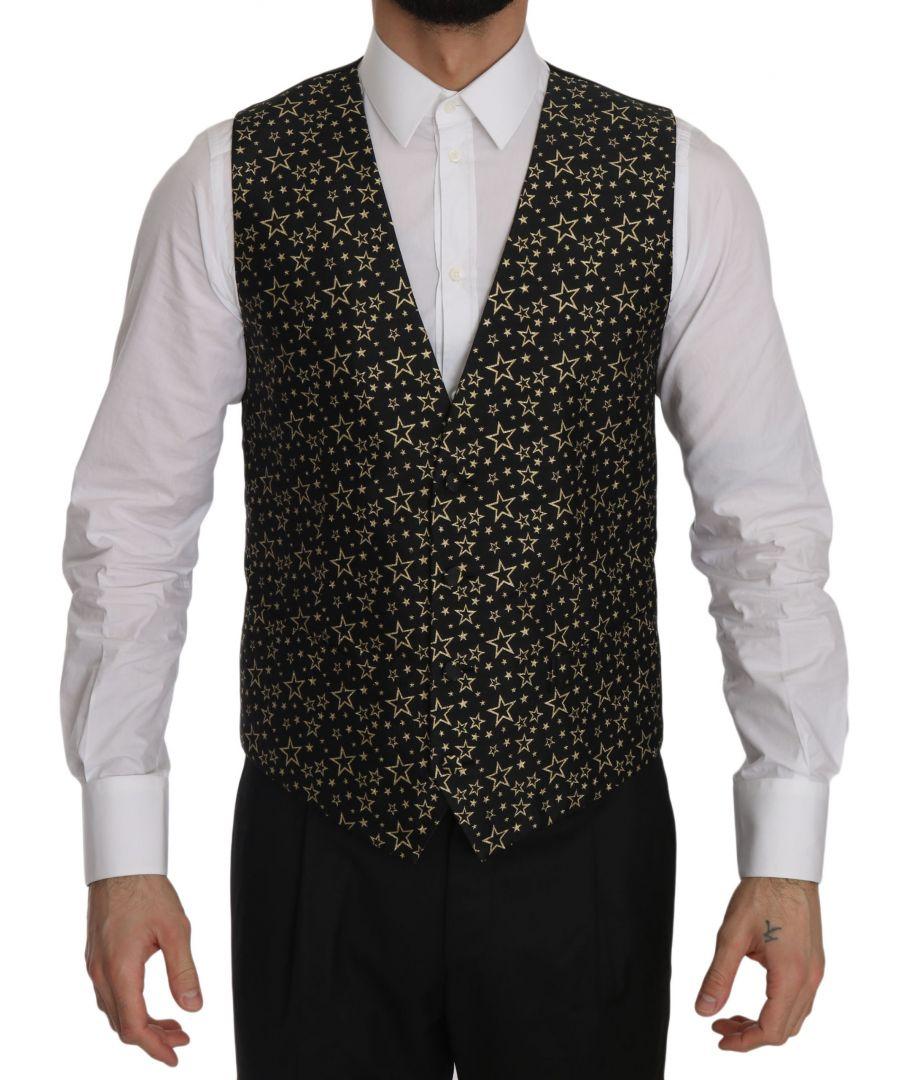 Image for Dolce & Gabbana Black Star Patterned Slim Formal Vest