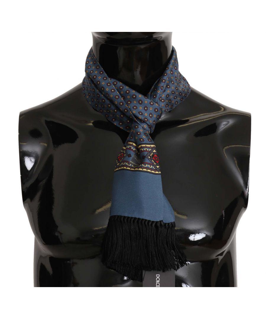 Image for Dolce & Gabbana Blue Patterned Tassel Silk Mens Scarf