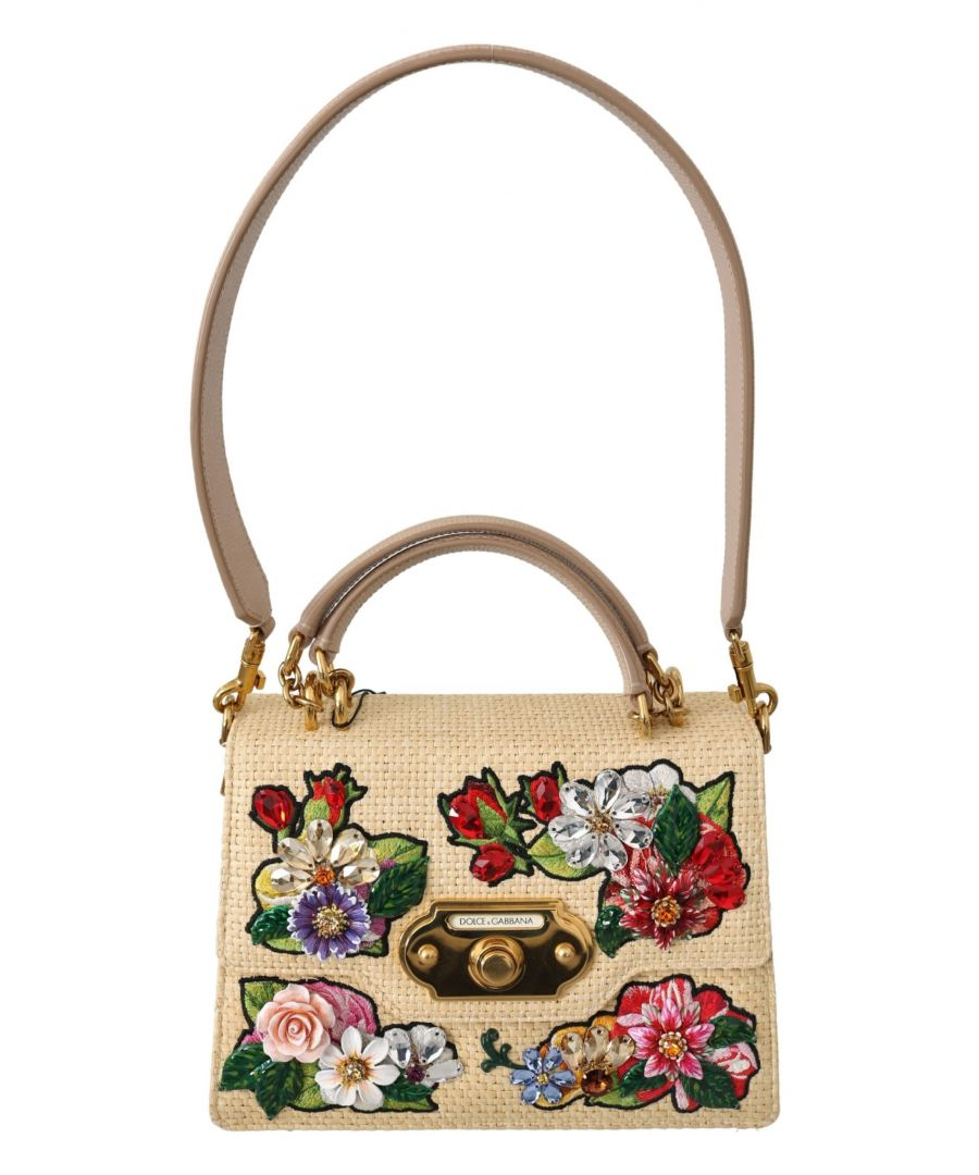 Image for Dolce & Gabbana Raffia Leather Floral Crystal Borse  WELCOME Purse