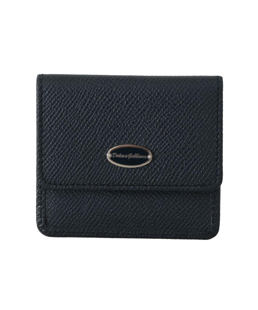 Image for Dolce & Gabbana Blue Dauphine Leather Pocket Case Holder
