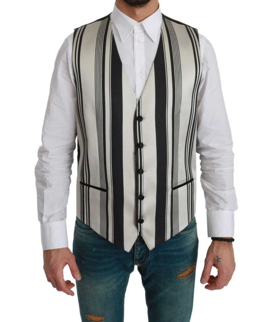Image for Dolce & Gabbana White Black Stripes Waistcoat Formal Vest