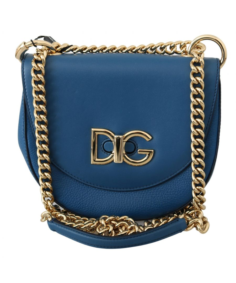 Image for Dolce & Gabbana Blue Gold Chain Leather Shoulder Borse WIFI Purse