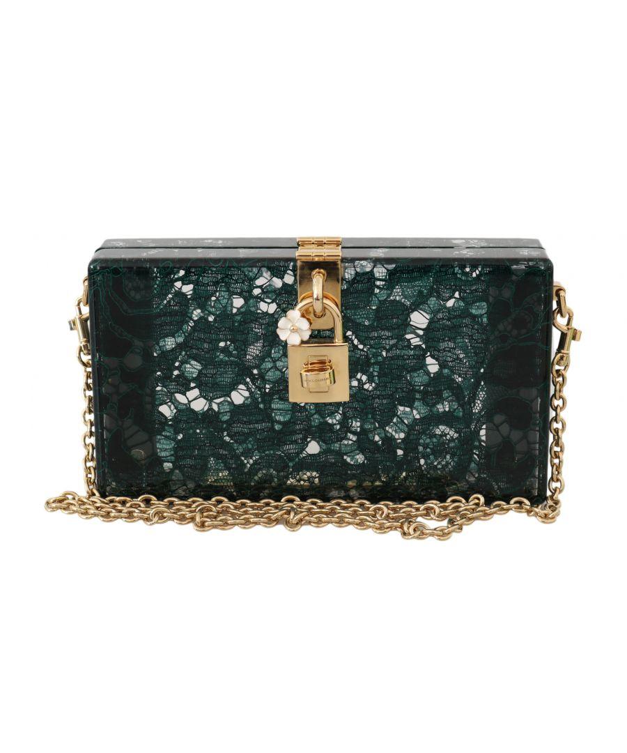 Image for Dolce & Gabbana Green Taormina Lace Clutch Borse Bag Purse