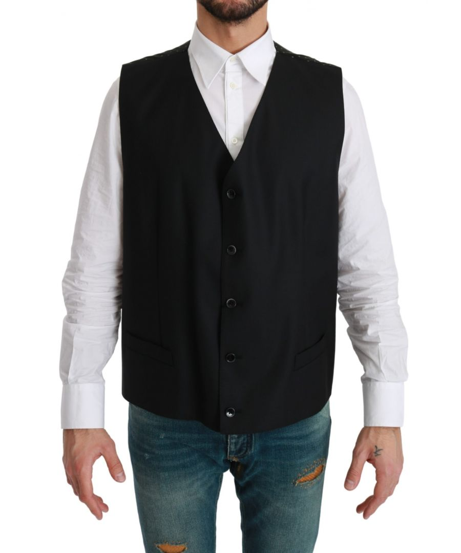 Image for Dolce & Gabbana Black Dotted Waistcoat Formal Wool Vest
