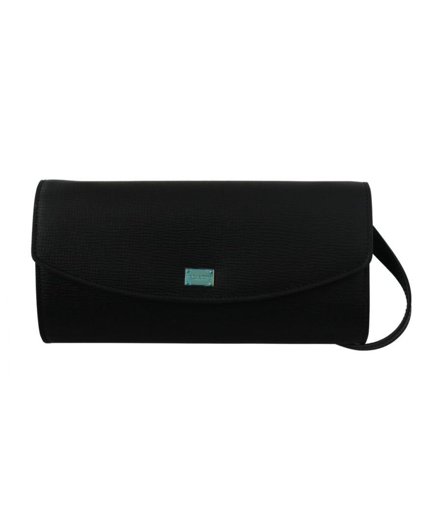 Image for Dolce & Gabbana Black Evening Long Women Clutch Borse 100% Leather Bag