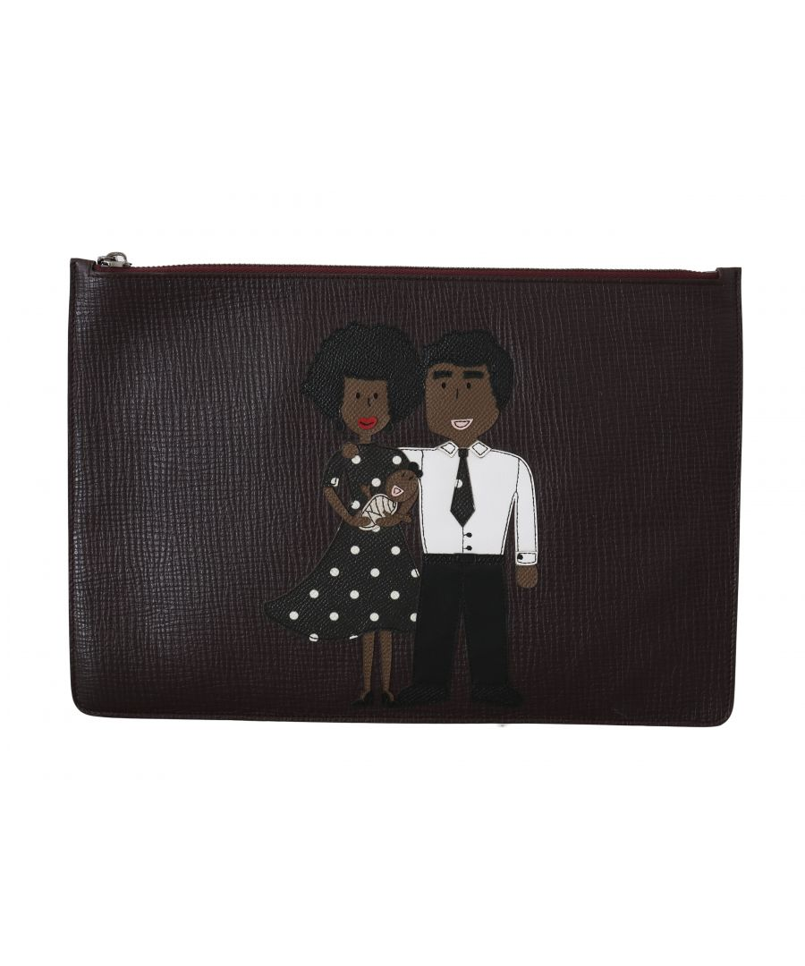 Image for Dolce & Gabbana Bordeaux Leather Folder Clutch Document #dgfamily Bag