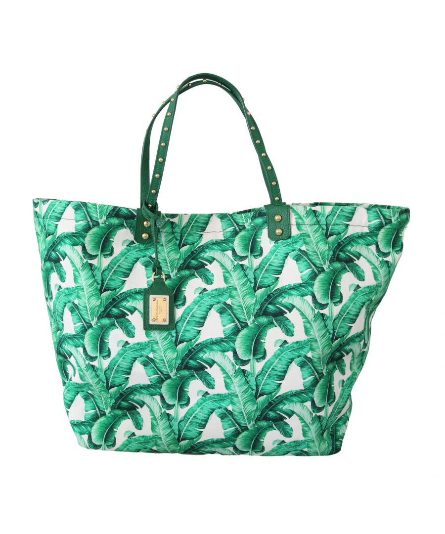 Image for Dolce & Gabbana Green Banana Leaves BEATRICE Shopping Hand Tote Bag