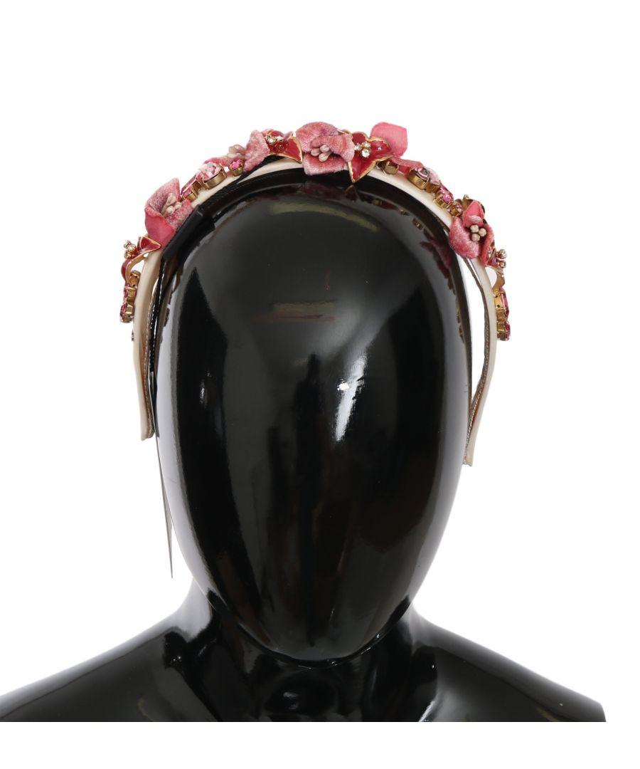 Image for Dolce & Gabbana Red Pink Silk Crystal Floral Diadem Tiara Headband