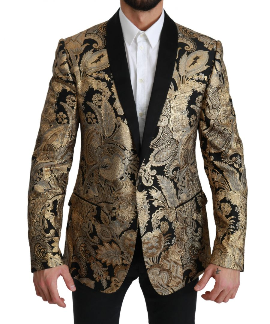 Image for Dolce & Gabbana Black Gold Jacquard Lace Jacket Blazer