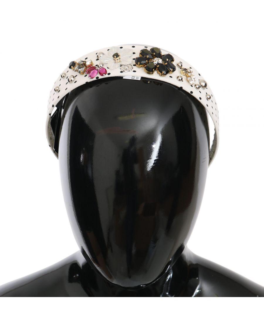 Image for Dolce & Gabbana Black White Polka Dot Crystal Floral Diadem Headband
