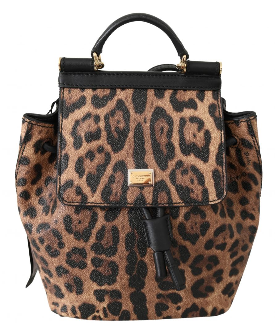 Image for Dolce & Gabbana Brown Leopard Leather Backpack Women Borse SICILY Bag