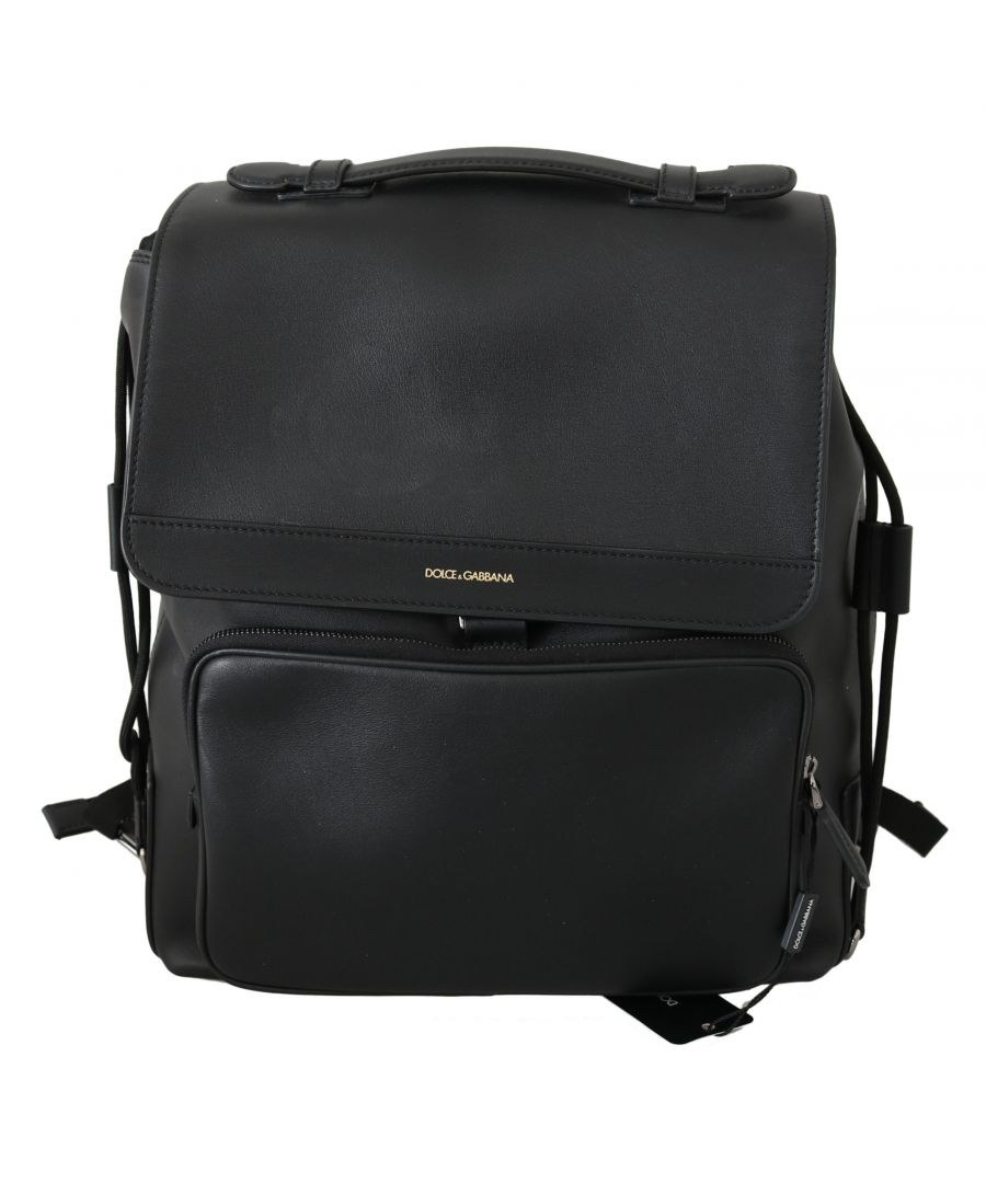 Image for Dolce & Gabbana Black Leather  School Drawstring Backpack Bag