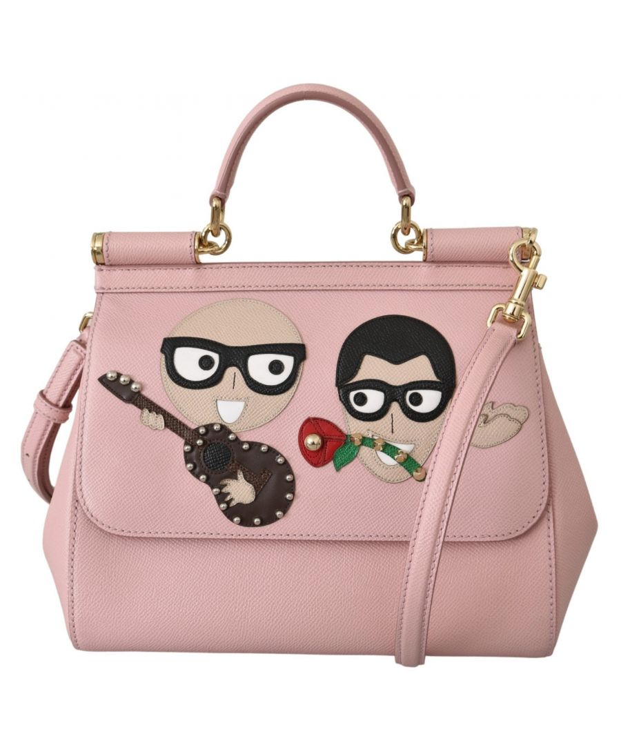 Image for Dolce & Gabbana Pink Leather #dgfamily Borse Satchel Hand SICILY Bag