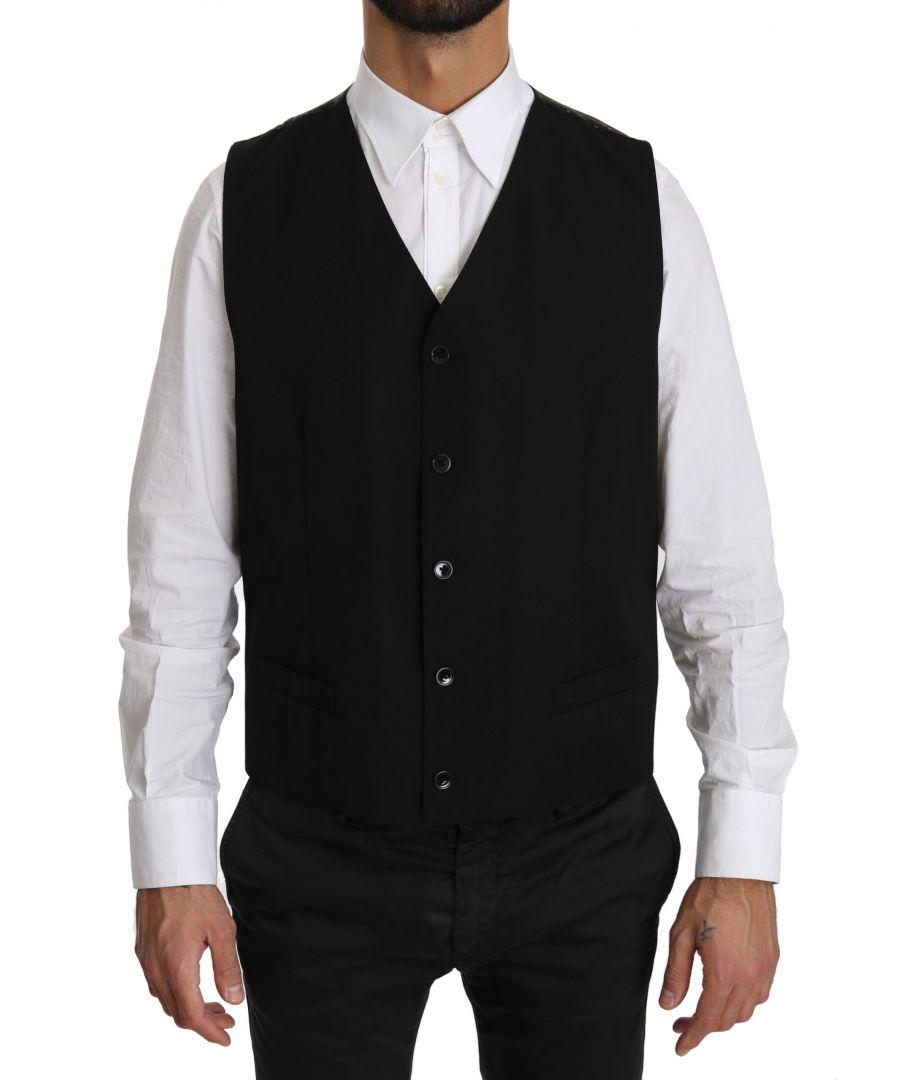 Image for Dolce & Gabbana Black Waistcoat Formal Gilet Wool Vest