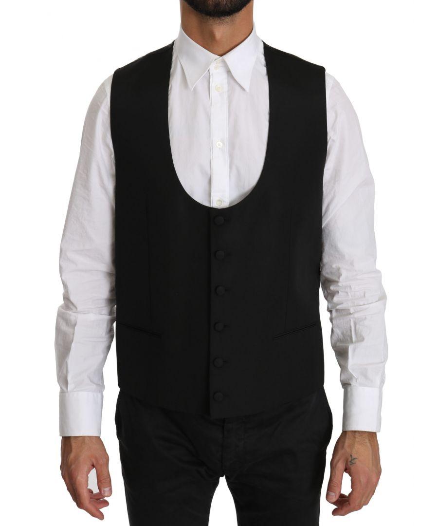 Image for Dolce & Gabbana Black Wool Regular Fit Formal Dress Vest