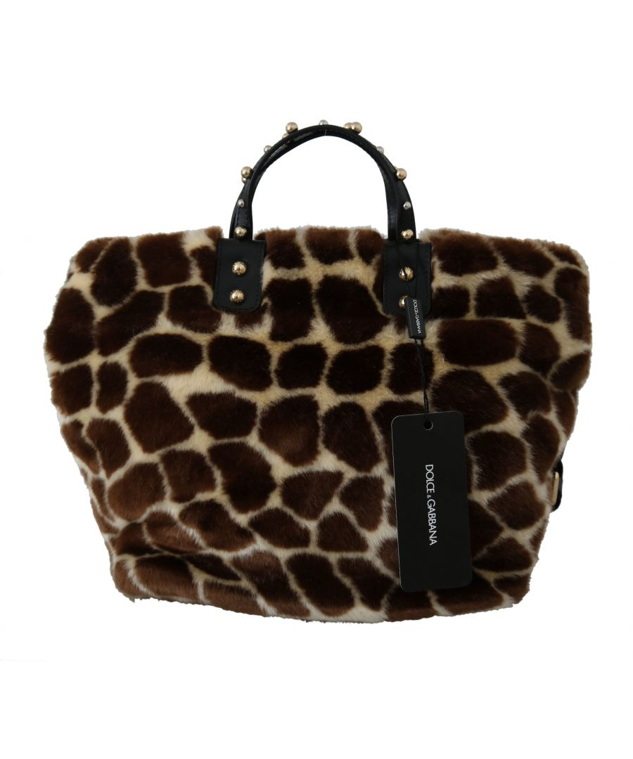 Image for Dolce & Gabbana Brown Giraffe Print Shopping BEATRICE Purse Tote Bag