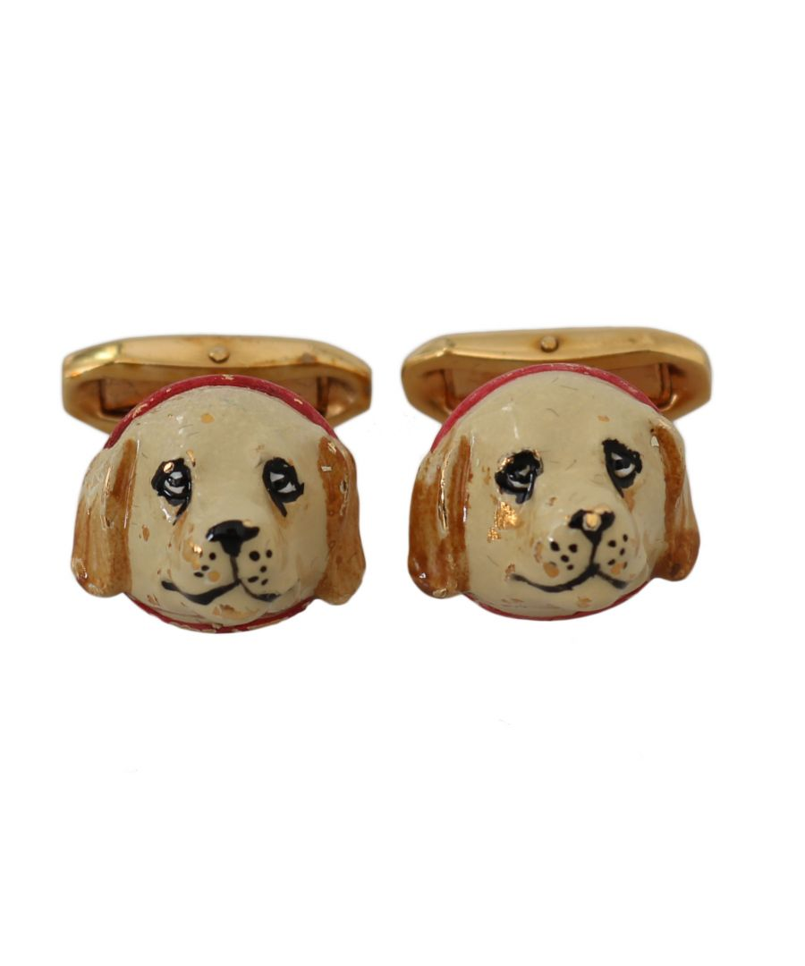 Image for Dolce & Gabbana Gold Brass Dog Puppy Branded Accessory Cufflinks