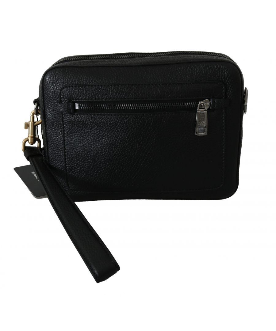 Image for Dolce & Gabbana Black Mens Clutch Hand Purse Pouch Borse Leather Bag