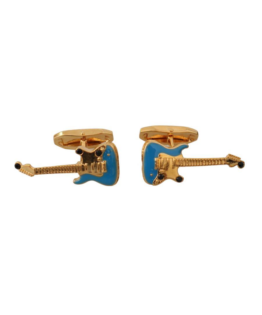 Image for Dolce & Gabbana Gold Blue Brass Music Guitar Brand Accessory Cufflinks