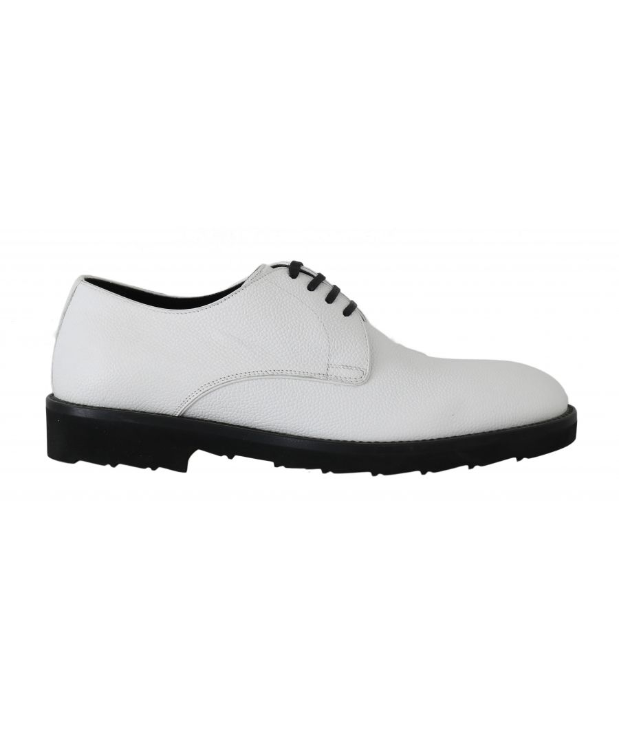 Image for Dolce & Gabbana White Leather Derby Dress Formal Shoes