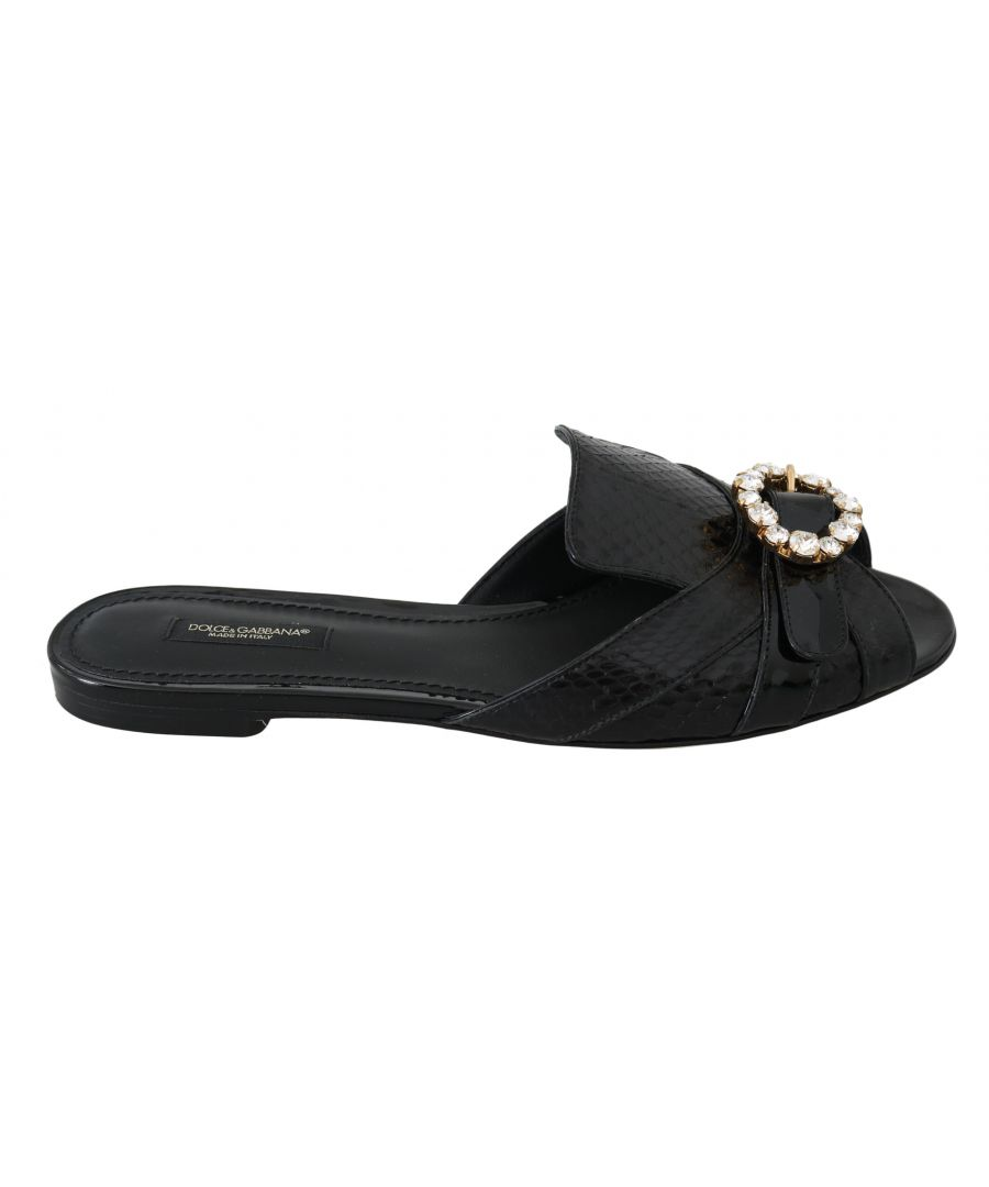 Image for Dolce & Gabbana Black Ayers Leather Flats Slides Shoes