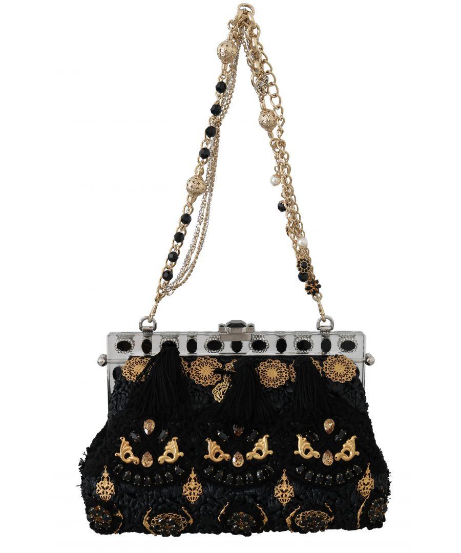 Image for Dolce & Gabbana VANDA Black Tassel Gold Baroque Crystal Purse