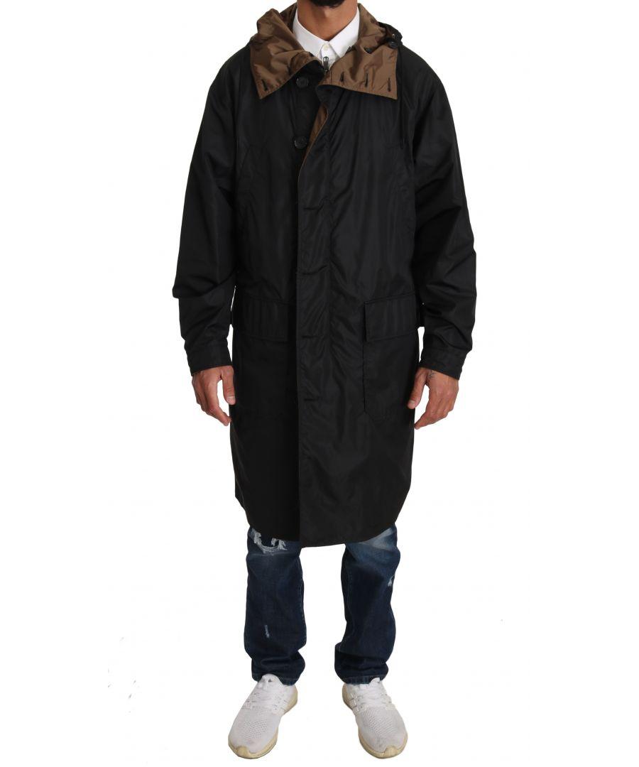 Image for Dolce & Gabbana Black Brown Hooded Reversible Raincoat