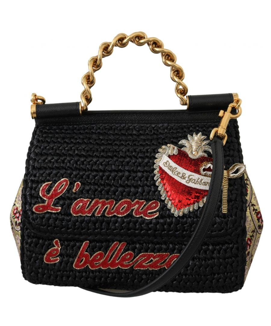 Image for Dolce & Gabbana Black Raffia L'amore e Bellezza Purse Satchel Borse SICILY Bag