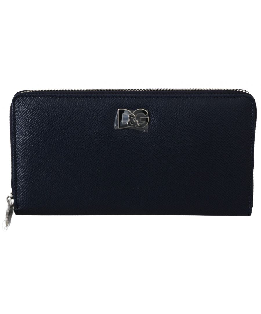 Image for Dolce & Gabbana Blue Dauphine Leather Continental Mens Clutch Wallet