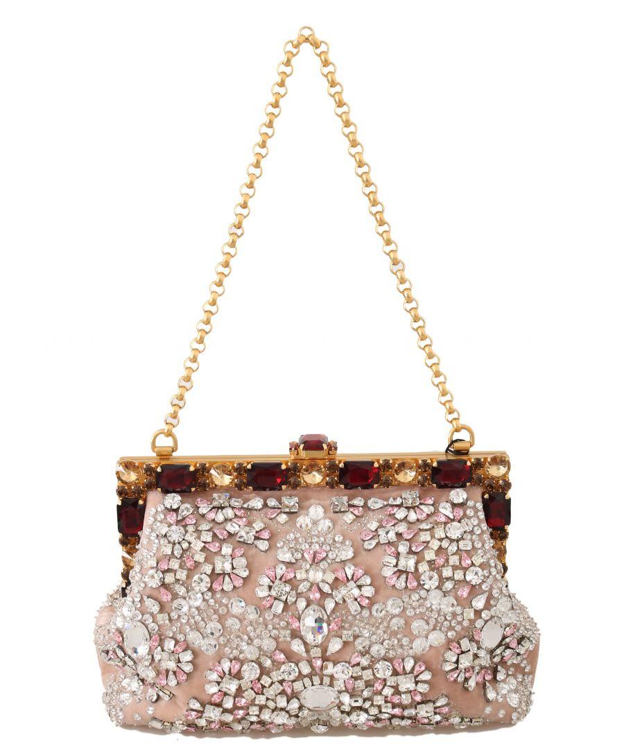 Image for Dolce & Gabbana Pink Velvet Crystal Gold VANDA Clutch