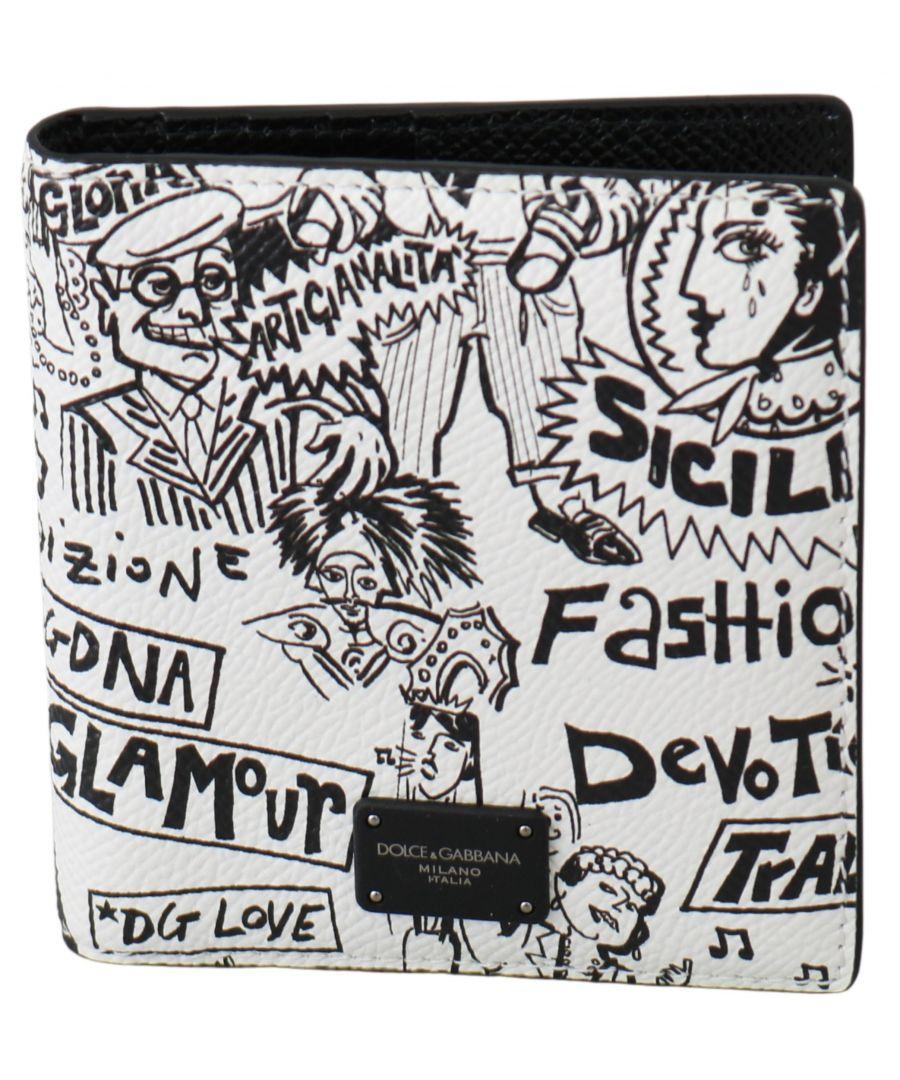 Image for Dolce & Gabbana White Black Leather Bifold Mens Card Holder Wallet