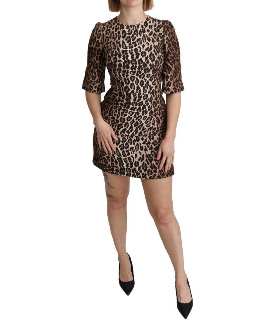 Image for Dolce & Gabbana Brown Leopard Print Sheath Mini Stretch Dress