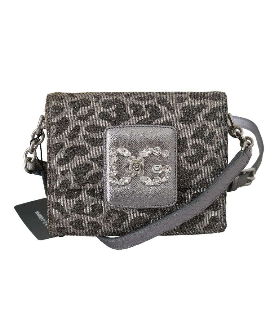 Image for Dolce & Gabbana Gray Leopard #DG GIRLS Mini Cross Body Crystal Purse