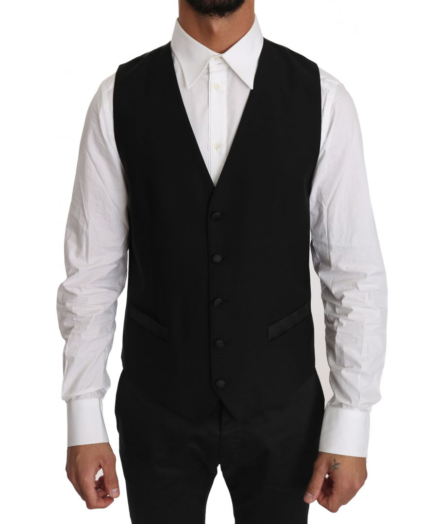 Image for Dolce & Gabbana Black Solid Wool Silk Waistcoat Vest