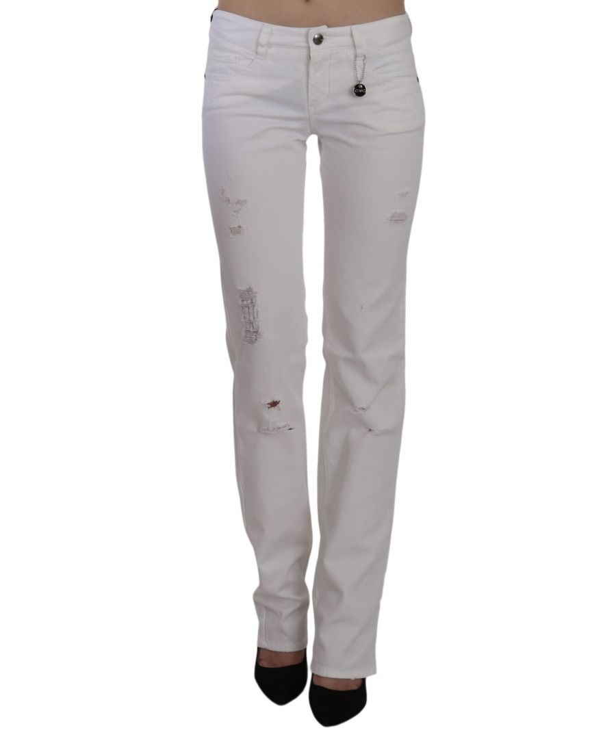 Image for Costume National White Cotton Slim Fit Straight Jeans Pants