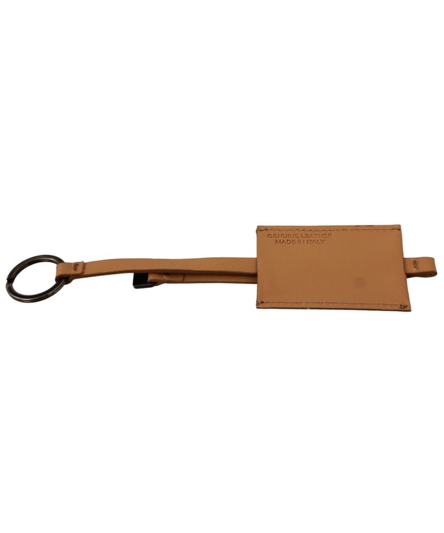 Image for Costume National Beige Leather Branded Logo Keyring  Keychain