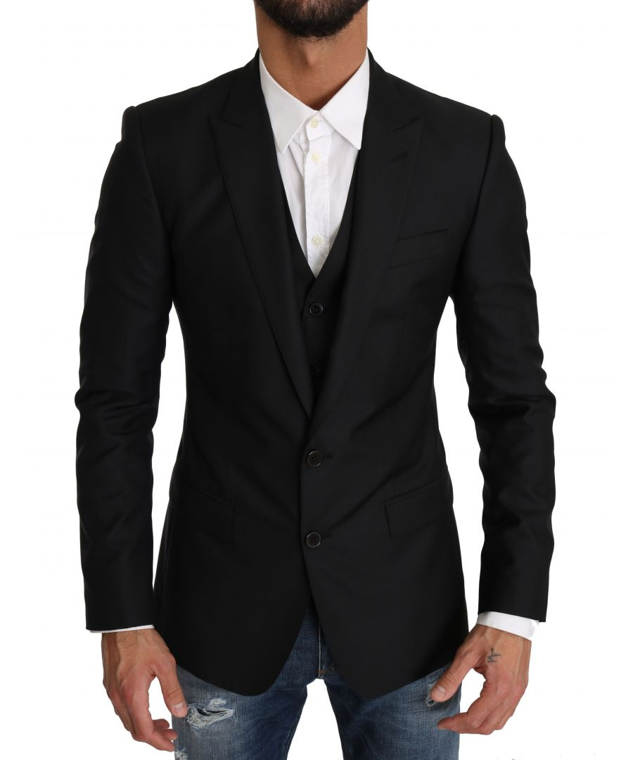 Image for Dolce & Gabbana Blazer Vest 2 Piece Black Wool MARTINI